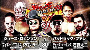 4TH MATCH Juice Robinson&Mikey Nicholls&Dragon Lee VS Bad Luck Fale&Chase Owens&Taiji Ishimori画像