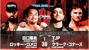 5TH MATCH SUPER JR. TAG LEAGUE 2019 Ryusuke Taguchi&Rocky Romero VS TJP&Clark Connors画像