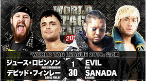 8TH MATCH WORLD TAG LEAGUE 2019 - TOURNAMENT MATCH Juice Robinson&David Finlay VS King of Darkness EVIL&SANADA画像